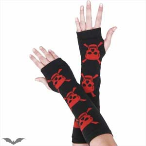 Black Arm Warmers With Red Skulls
