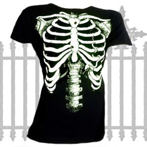 White Skeleton Ladies T Shirt